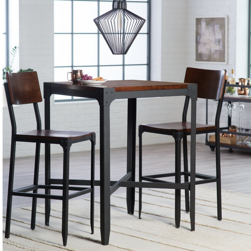 Industrial Style 3 Piece Pub Table Set  Pub Table Sets Glamorous Dining Room Table Sets For Small Spaces Review