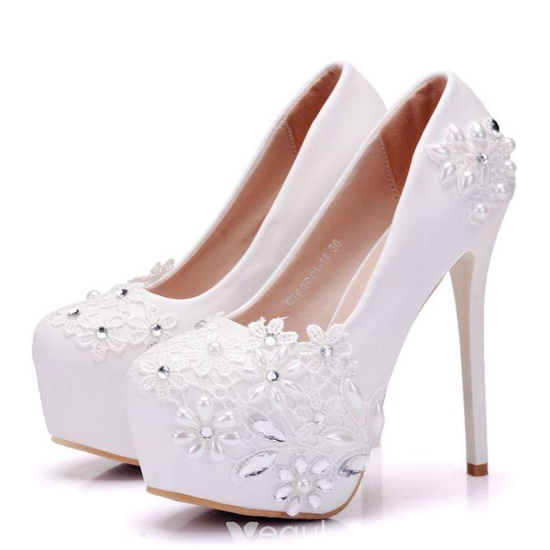 e89232fd621 Chic / Beautiful White Wedding Shoes 2018 Lace Pearl Rhinestone 14 ...