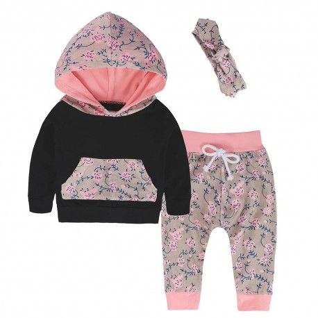 Winter Baby Girls Toddler Outfits Clothes Hoodie Tops Pants Headband 3PCS Set