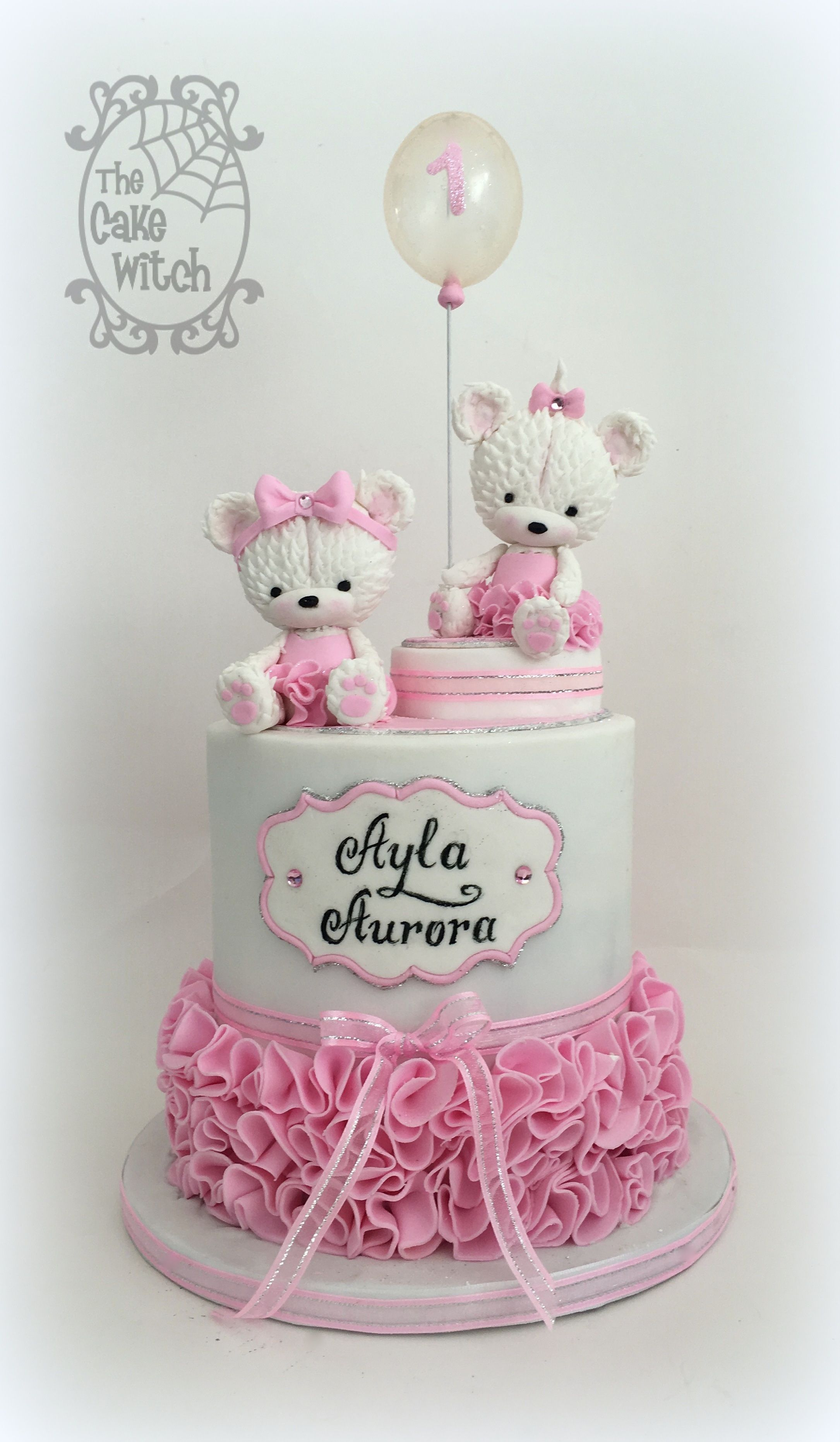 Teddy Bears In Tutus Birthday Cake In Pink And White With Ruffles