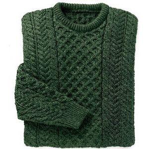 Merino Wool Aran Sweater - Dark Green - Shop Irish ($50-100)