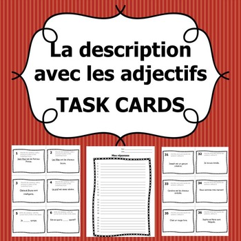 Task cards description with adjectives french grammar review task cards that involve subject pronouns etre avoir negation and adjective agreement platinumwayz