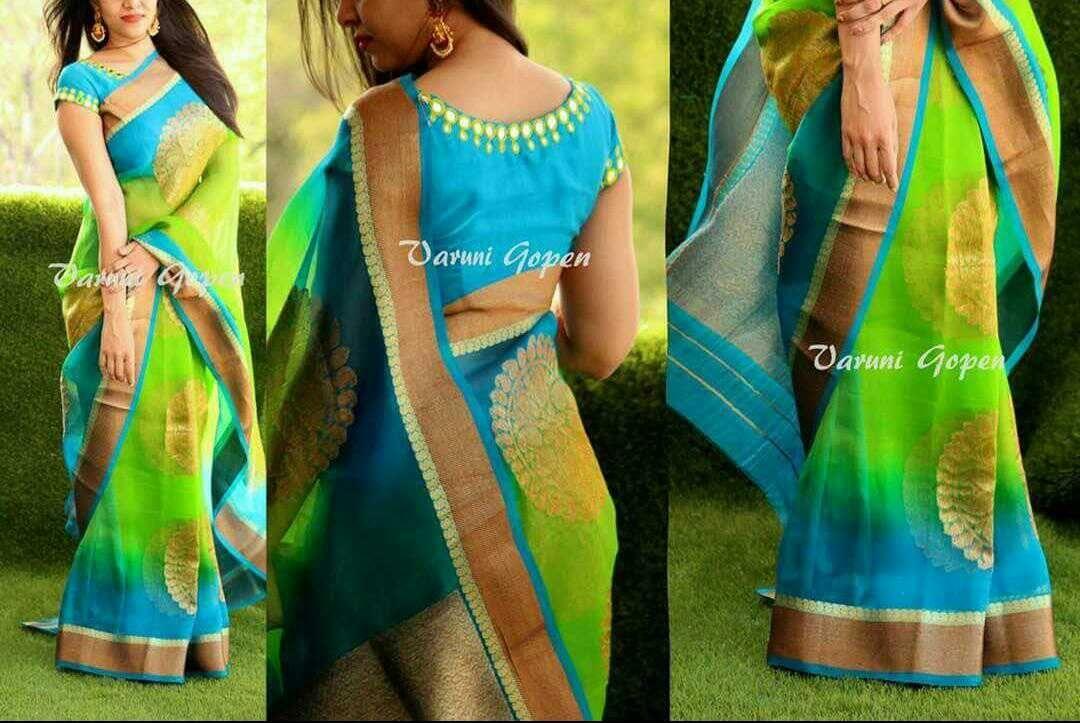 25801ac1e28c6 Pure antique gold organza sarees with antique gold brocade blouse ...