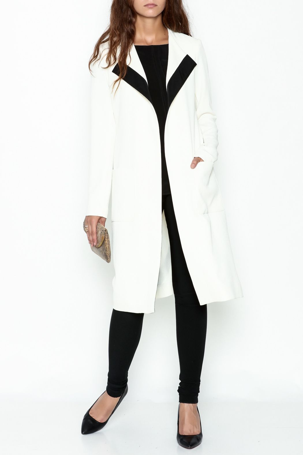 Long eggshell colored jacket with black satin trim detail. Belt at waist.  Two pockets db2df8c108bb