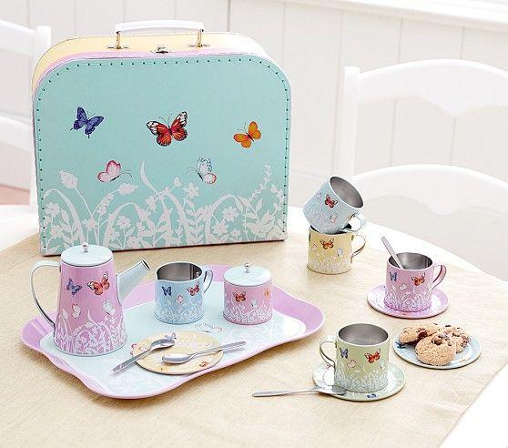 Tin Butterfly Tea Set Tea Set Kitchen Sets For Kids