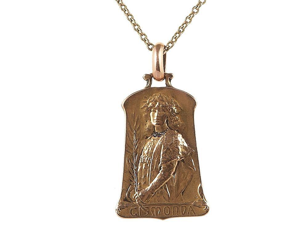 'Gismonda' Pendant after Alfons Mucha, ca. 1900/10 available on CLASSIQS – www.classiqs.com