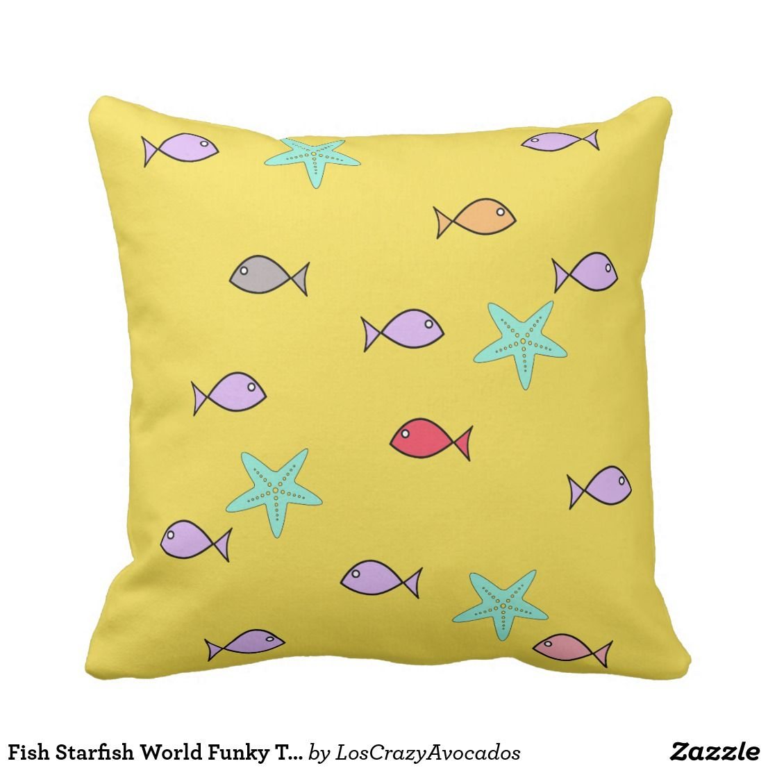 Fish Starfish World Funky Throw Pillow | Home Decor Items ...