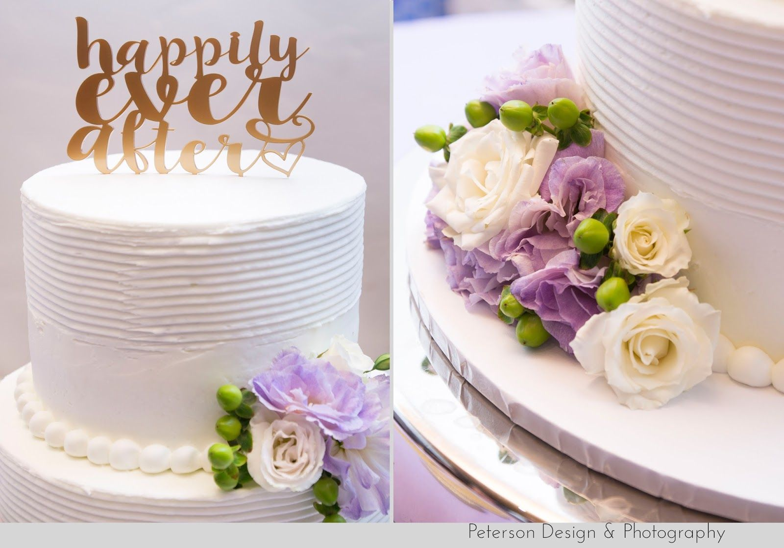 Traditional, purple and ivory wedding at Pasadena City Hall, St. Therese Catholic Church in Alhambra and George G. Golleher Alumni House on the Cal State Fullerton  happily ever after cake topper