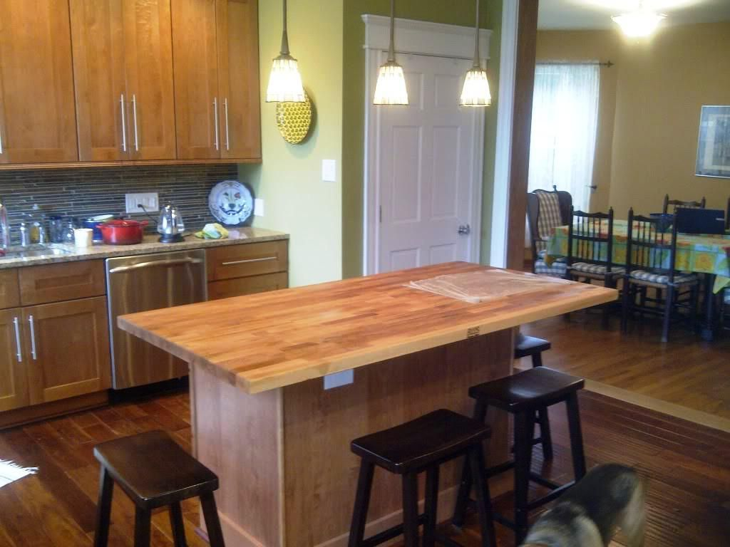 Kitchen butcher block islands with seating cabin staircase Kitchen island with seating