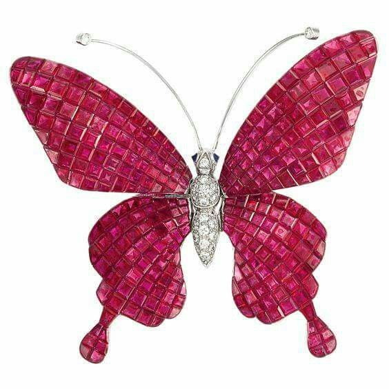"18k White Gold, Invisibly-Set Ruby And Diamond ""en Tremblant"" Butterfly,  Signed Alexis - Doyle  New York"