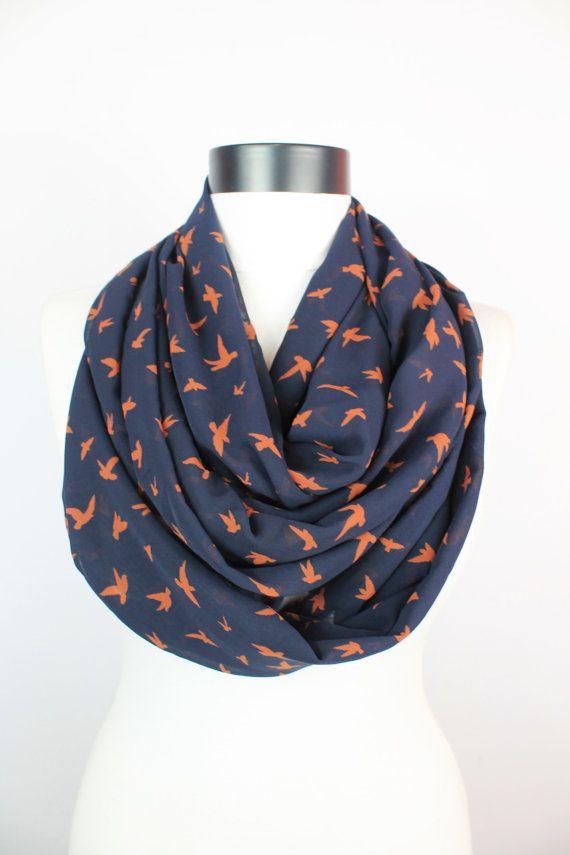 bird scarf,black scarf,infinity scarf,boho scarf,long scarf,,Loop scarf,Circle scarf,Women Scarf, Gift,Scarves,scarf