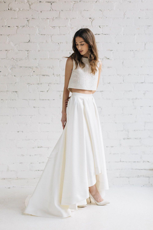 Two Piece Wedding Dress, Bridal Separates ,Crop Top Dress