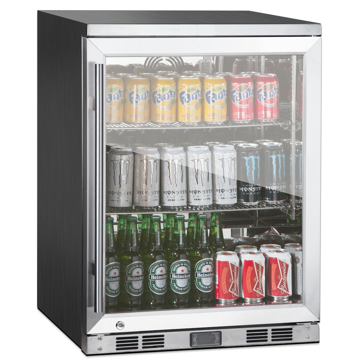 24 Undercounter Heating Glass Door Refrigerator With Stainless Exterior And Interior Bar Refrigeratorhouse Appliancesstainless Steel