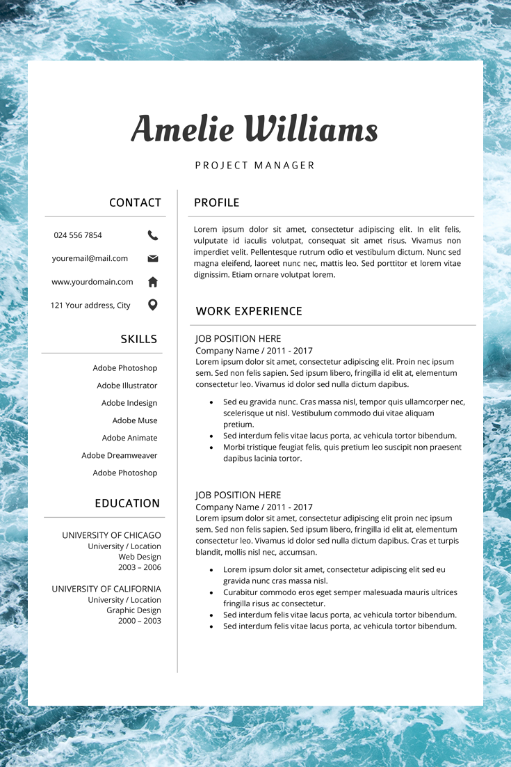 Modern Resume Template Professional CV Design CV