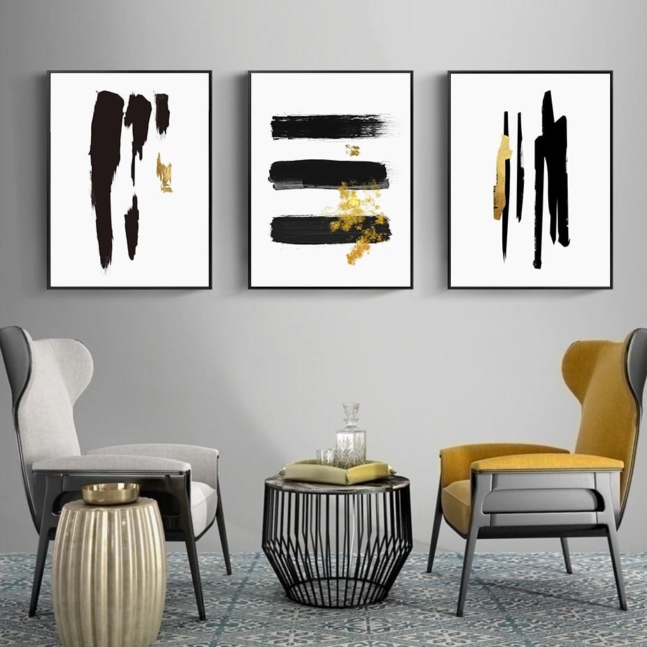 Abstract Black Gold Brush Stroke Wall Art Fine Art Canvas Prints In 2021 Minimalist Wall Art Living Room Art Wall Art Living Room