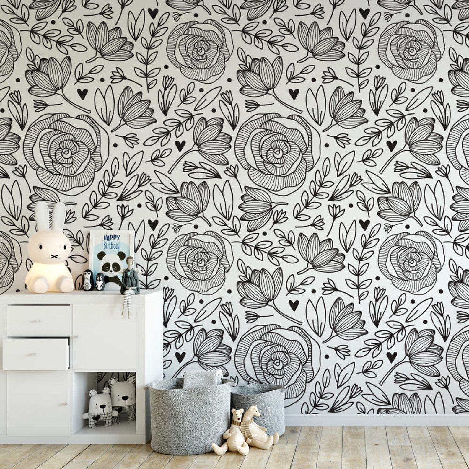 Black And White Floral Wallpaper B132 27 Etsy Black And White Wallpaper Removable Wallpaper Peony Wallpaper