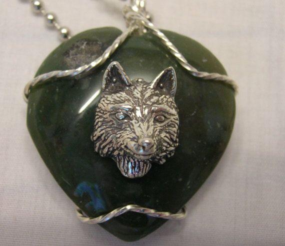 Green Jasper Heart Pendant Sterling Silver by DeanasQuiltsandMore, $40.00