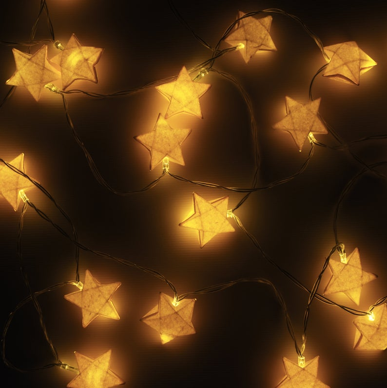 Brownfolds Paper Origami Star Fairy Lights; 2 Mete