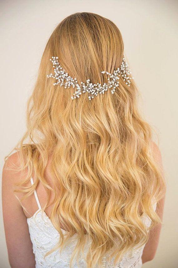 SALE! Bridal hair vine/ pearl hair accessories/ wedding headpiece made of white pearl/ babys breath flower inspired/bride hair piece