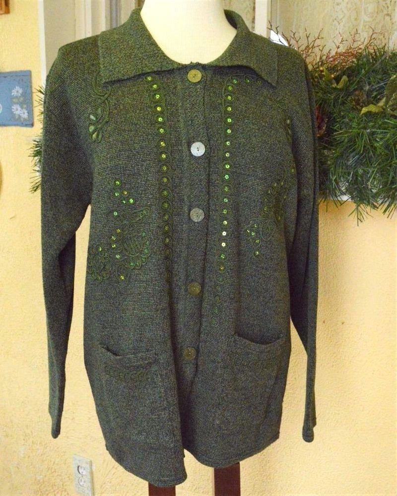 Women's L Cardigan Sweater Olive Green Multi Floral LS Collar ...