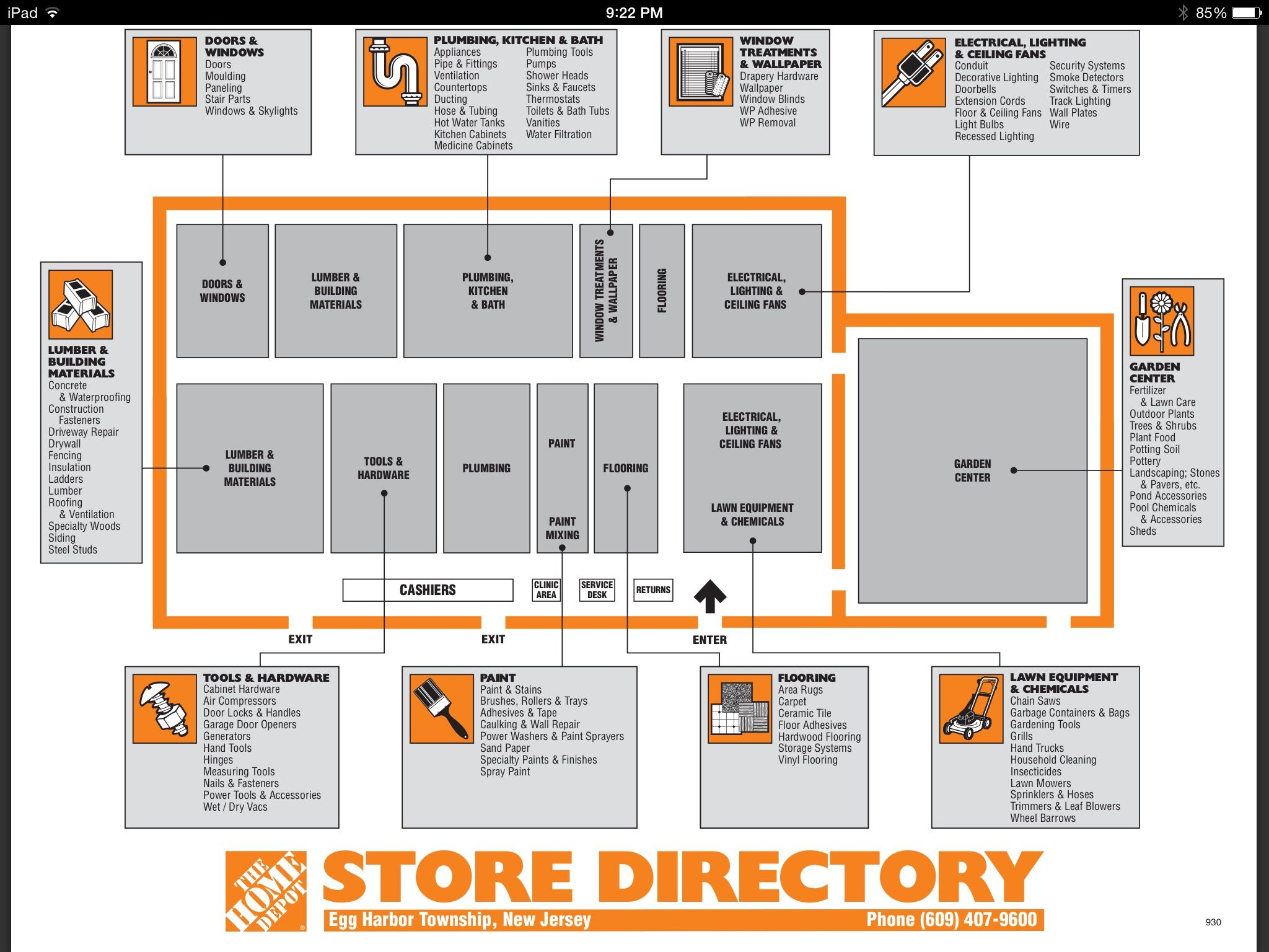Home depot store directory eht nj house shopping list for Shop home depot