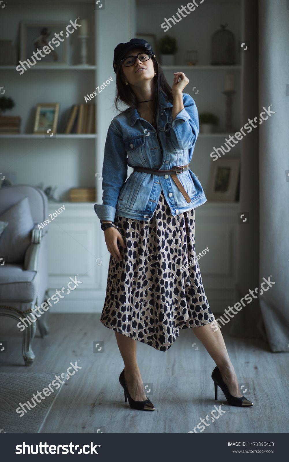 Fashion portrait of young beautiful female model standing in leopard dress in interior studio. Pretty girl with slim figure #Sponsored , #AFFILIATE, #female#model#standing#beautiful