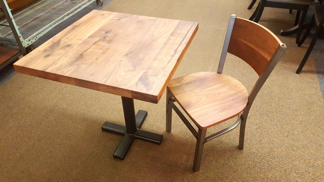 A Simple Restaurant Table And Chair All Handcrafted With Solid Rustic Walnut Wood The Ste Restaurant Tables And Chairs Dining Room Furniture Steel Table Base