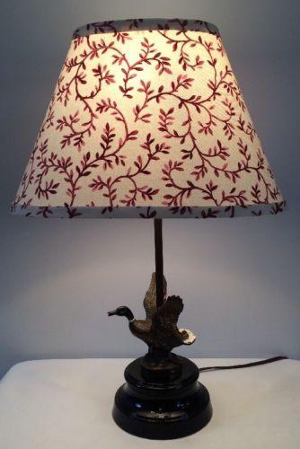 Antique Cast Metal Mallard Duck Table Lamp W Shade Estate