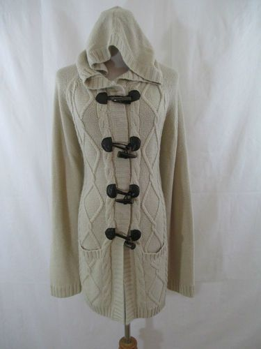 Dress barn beige taupe cable knit toggle hooded long cardigan ...
