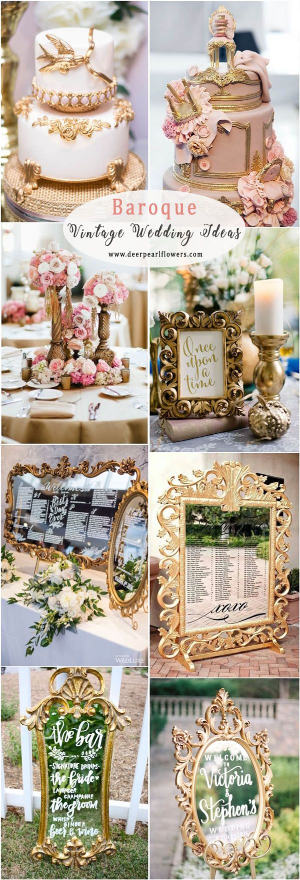 Wedding decorations gold and pink december 2018 Top  Vintage Wedding Trend Ideas for   Baroque wedding