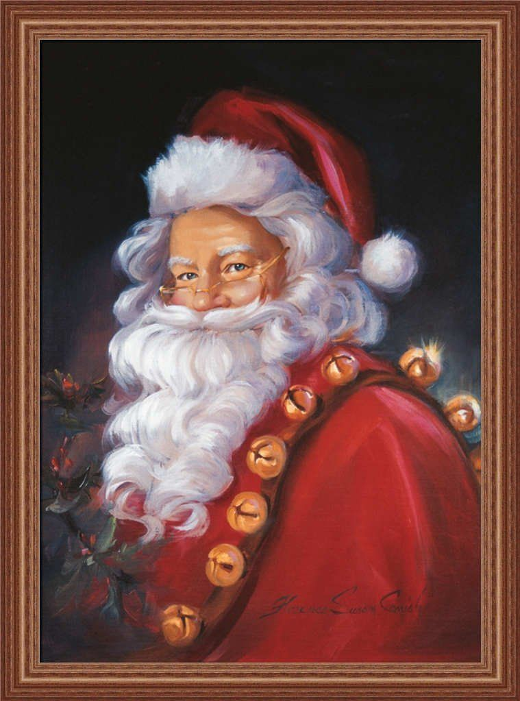 St. Nick by Susan Comish Santa Claus with Jingle Bells 23x31 Framed Art Print Picture ** You can get more details by clicking on the image. (This is an affiliate link) #ModernHomeDecor