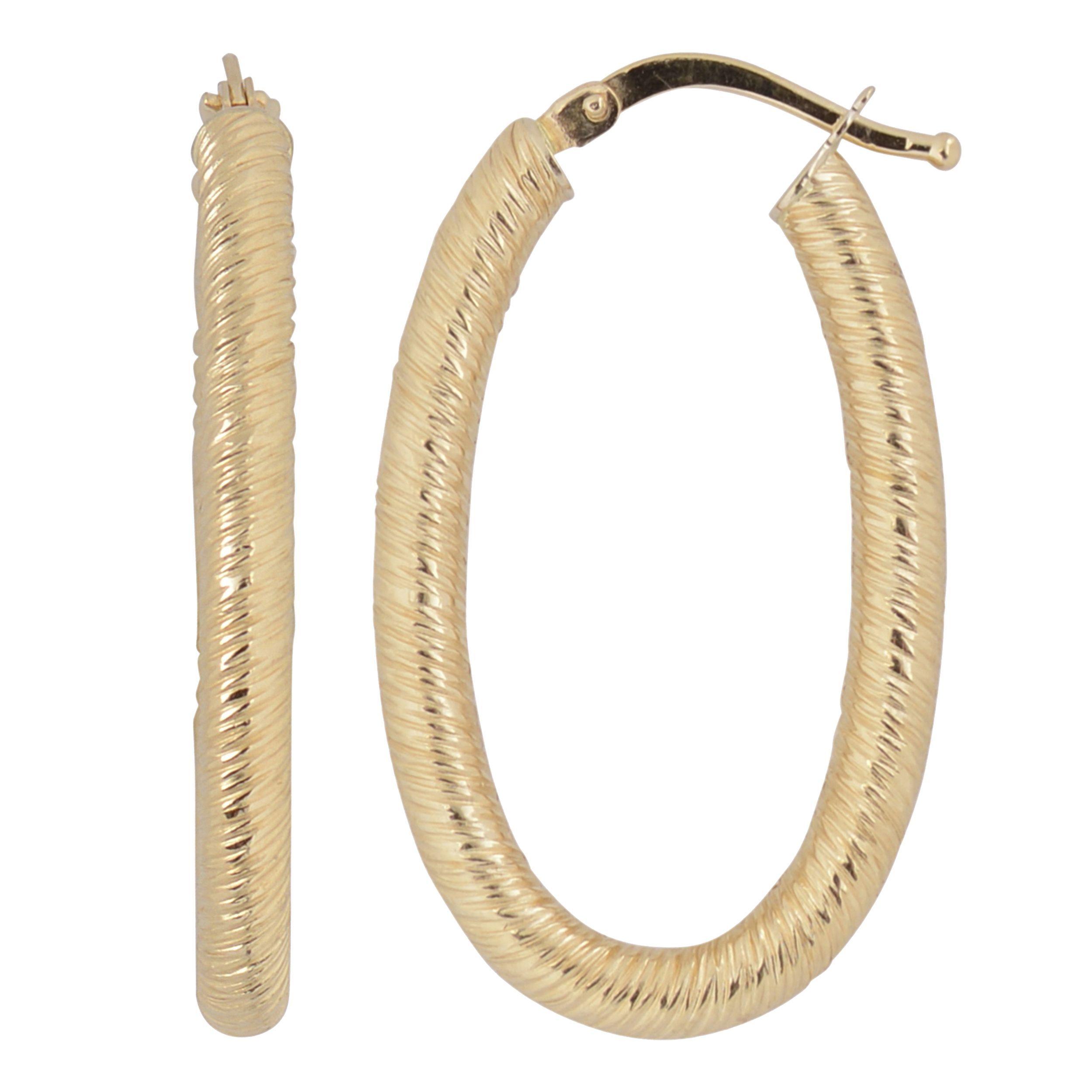 Fremada Italian 14k Yellow Gold Oval Hoop Earrings (yellow gold), Women's, Size: Medium