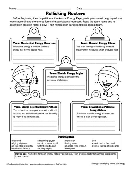 Forms of Energy worksheet | Science worksheets, 7th grade ...