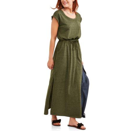 0fed22f0cbdc6 Time and Tru Women's Burnout Maxi Dress, Blue   Time and Tru walmart ...
