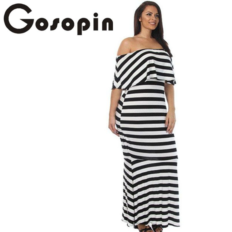 Gosopin Fashion Summer Striped Ruffle Tube Plus Size Maxi Dress