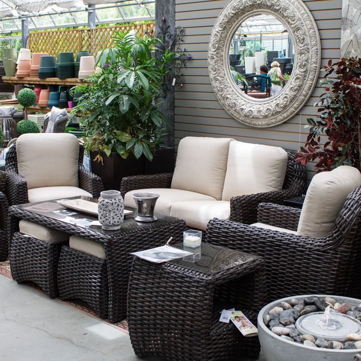 Patio set in the greenhouse! Visit http://www.glasshousenursery.ca