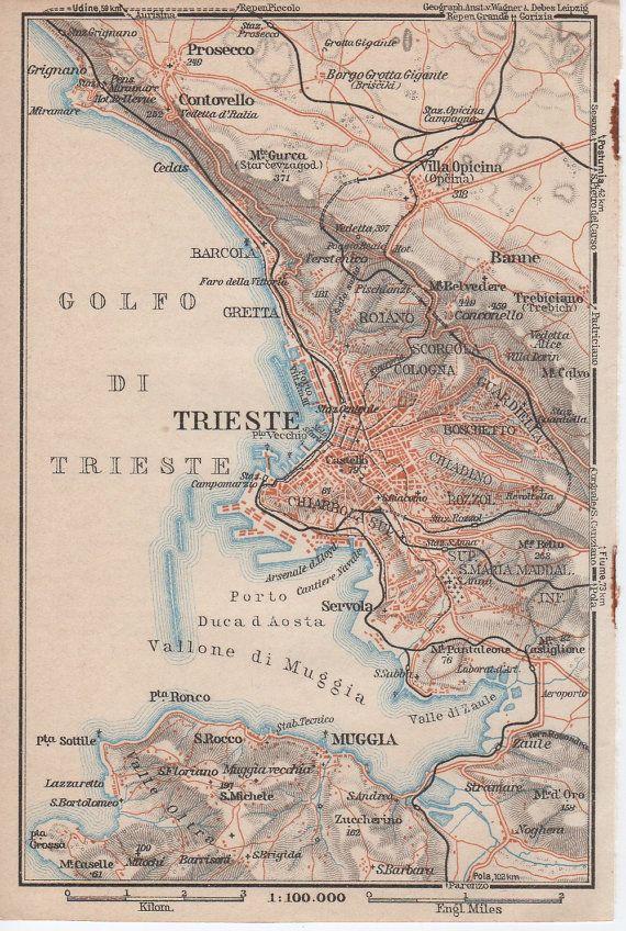 1928 Trieste Italy Antique Map Italia Adriatic Sea by Craftissimo