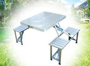 http://www.mightydeals.co.uk/Products/Home-Garden/National/Portable-Picnic-Table-and-Camping-Chair-Set/59879?&campaign=LEXMD1353NAT&utm_medium=email&utm_source=newsletter&utm_campaign=LEXMD1353NAT&lsid=550200021&custid=4389954&em=escopana@gmail.com Made from quality MDF board and aluminium, this sturdy silver table comes with four bar stools. It can be folded down to a briefcase for easy storage and transportation. Take it with you when you're camping