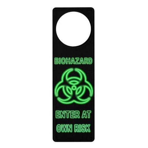 Cool And Funny Glowing Neon Biohazard Symbol Door Hanger Funny