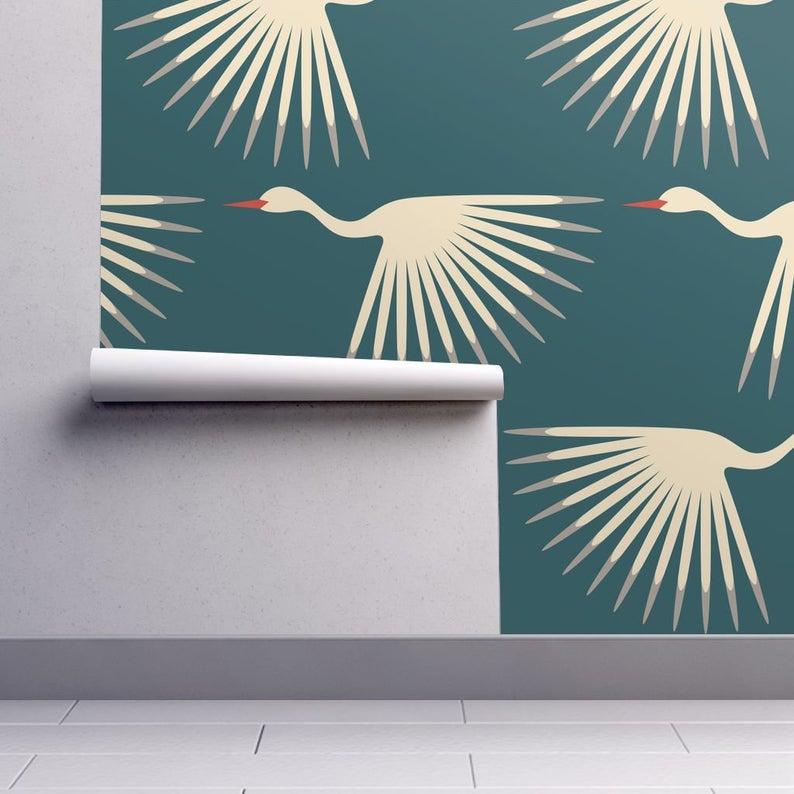 Art Deco Wallpaper Art Deco Cranes By Katerhees 1920s Teal Etsy Art Deco Wallpaper Spoonflower Wallpaper Art Wallpaper