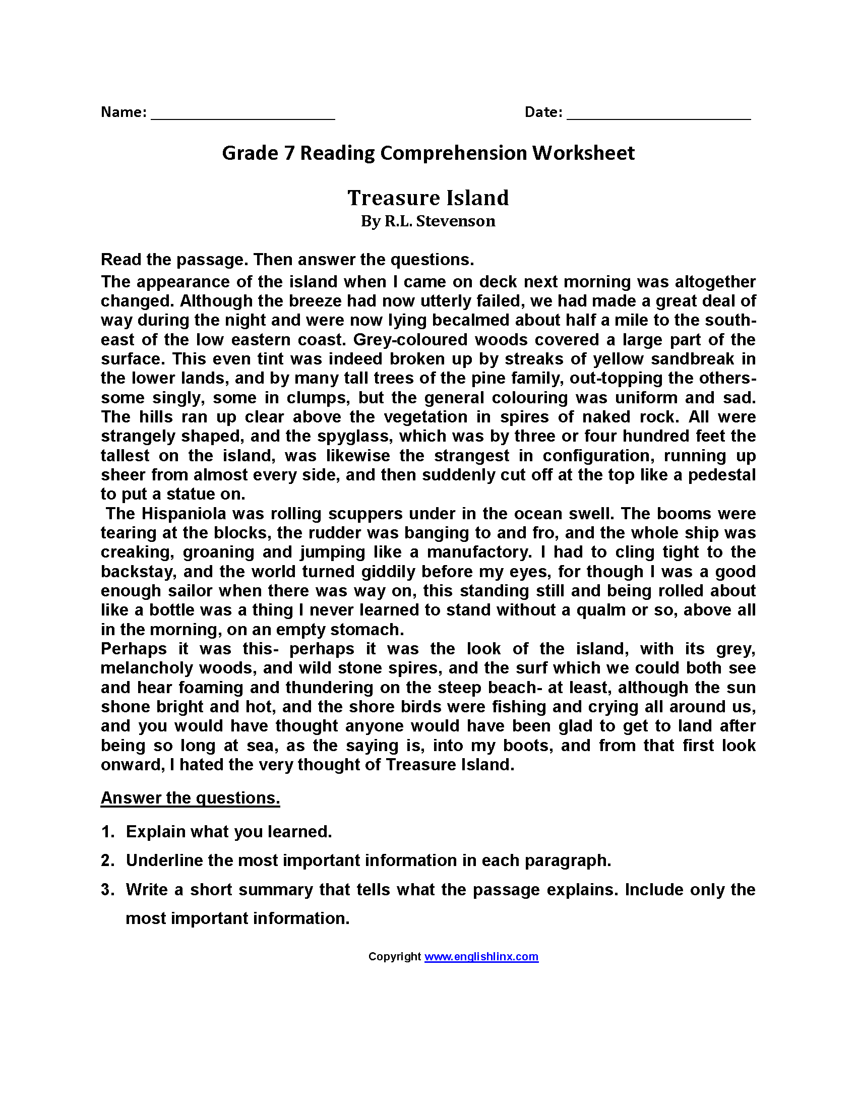 Treasure Islandseventh Grade Reading Worksheets Grade 7
