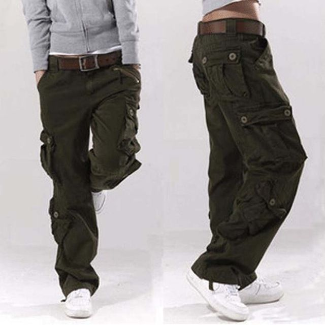 Men loose Military Casual Outdoor Hiking Cargo Cotton Blend Overall Hip Hop Pant