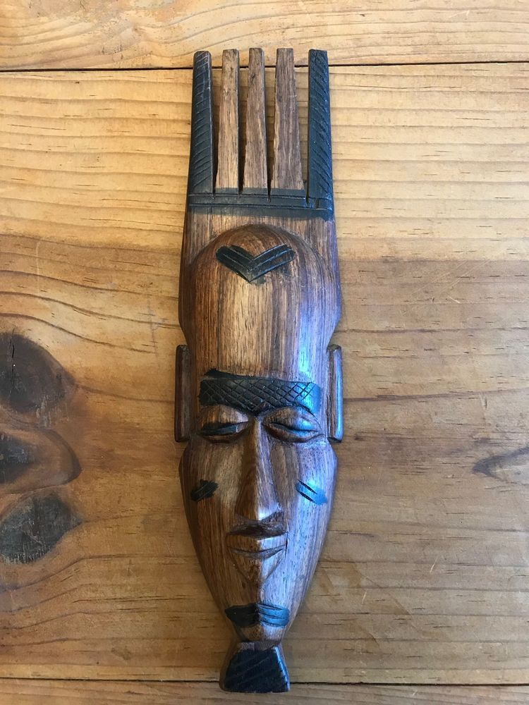 African Wooden Mask Long Face African Art Tribal Wall Decor Carved Wood African Art Carving Wall Decor