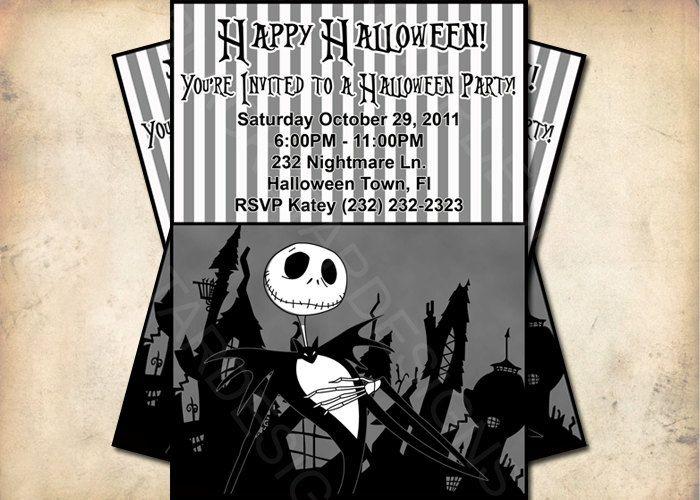 Incredible Nightmare Before Christmas Halloween Party Invitation Funny Birthday Cards Online Ioscodamsfinfo