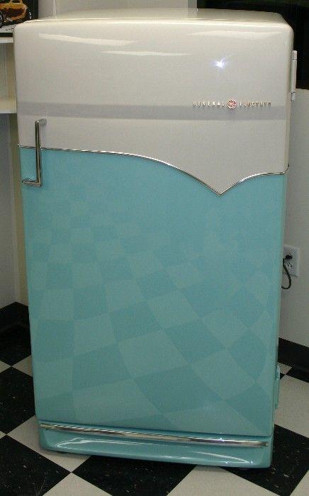 Vintage aqua-coloured, streamline modern, GE refrigerator ...