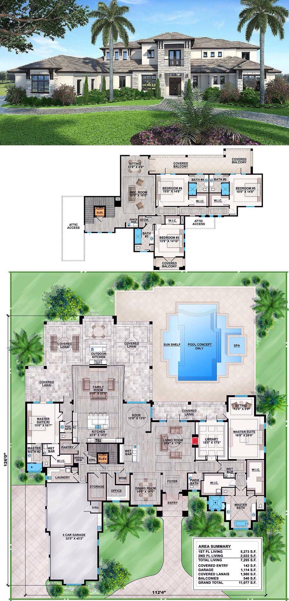 Plan 86025bw Spacious Contemporary Florida House Plan Florida House Plans Mansion Floor Plan House Blueprints