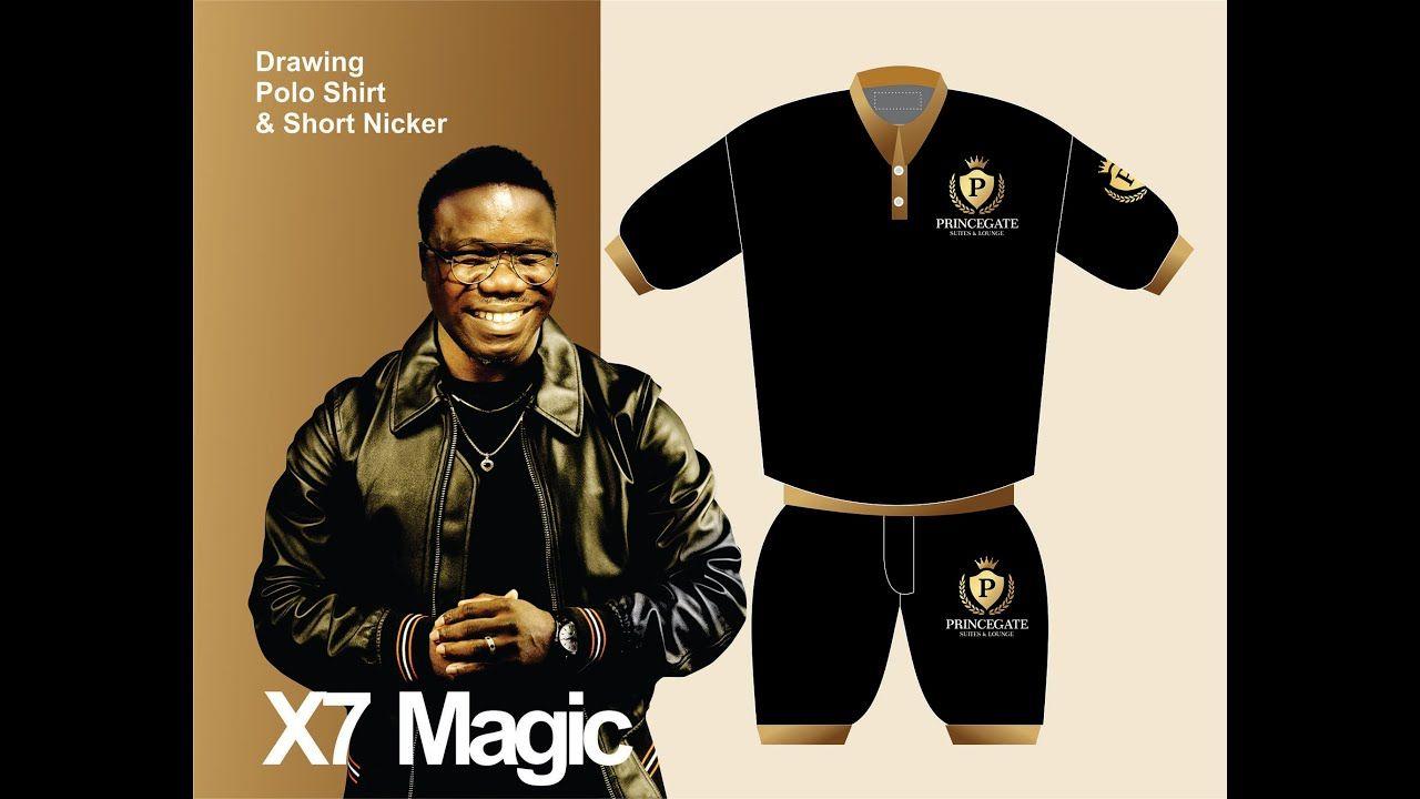 Download Drawing Polo Shirt Short Nicker With Mock Up Cdr X7 Magic Mocking Polo Shirt Polo
