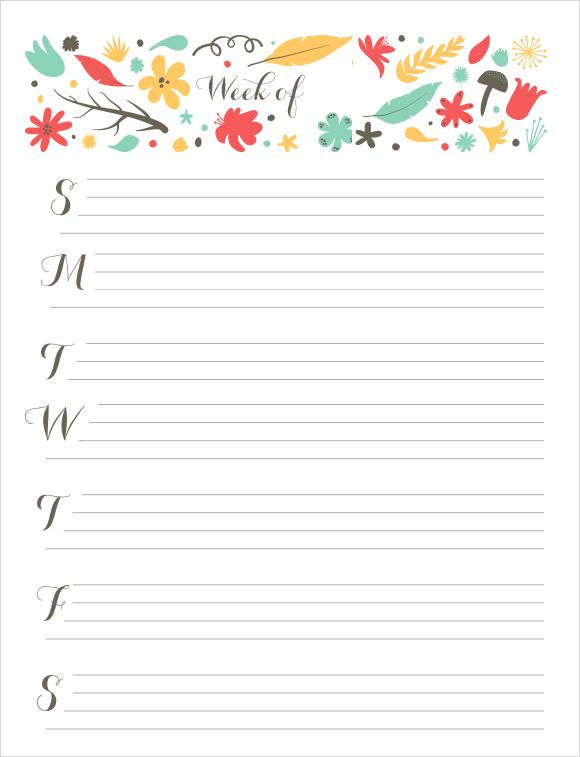 Superb Cute Weekly Calendar Template