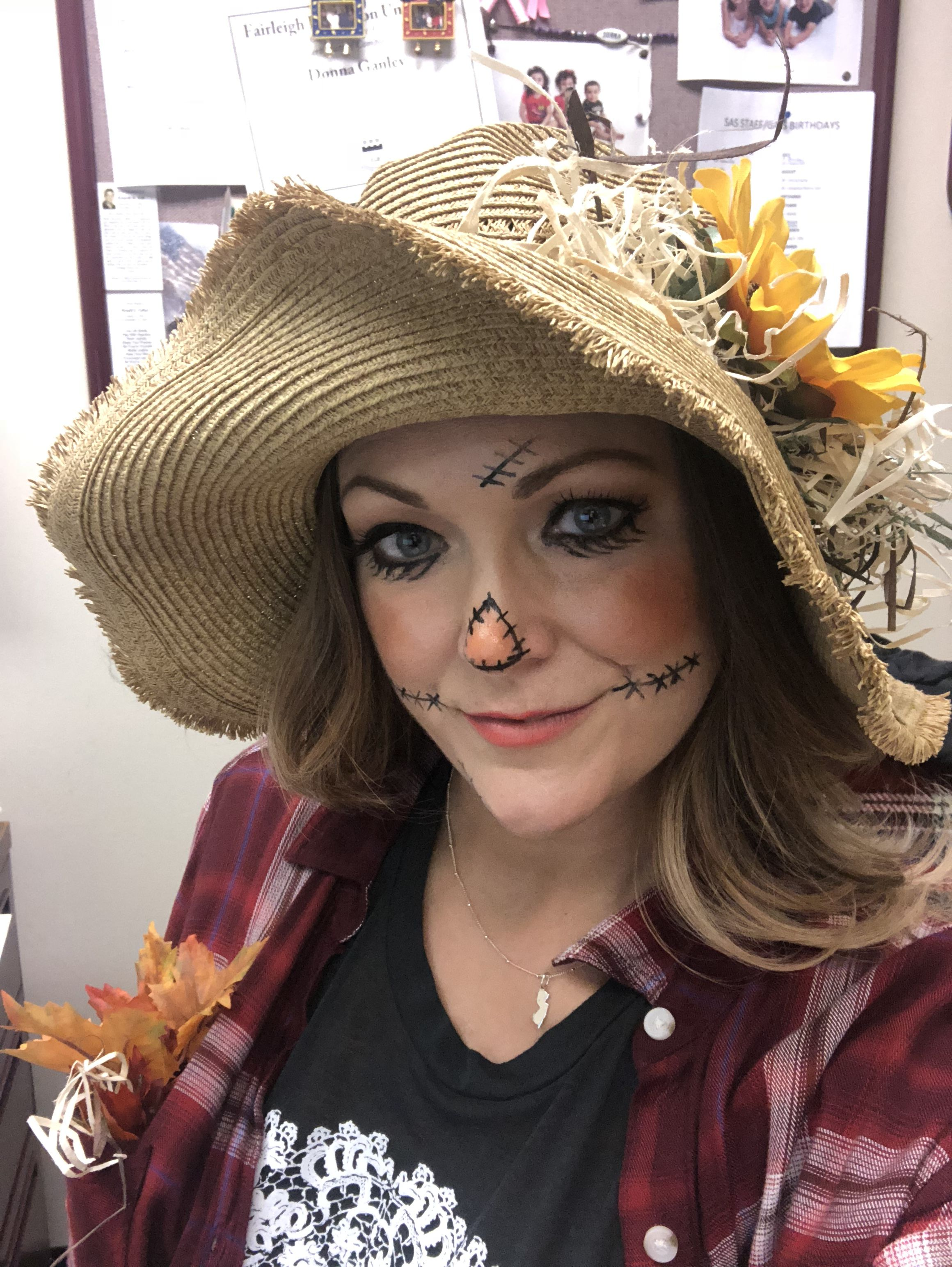 Quick, easy scarecrow make up.
