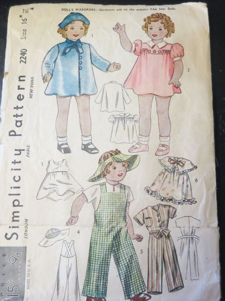 Vintage Doll Clothes Sewing Pattern Simplicity 2240 SHIRLEY TEMPLE ...